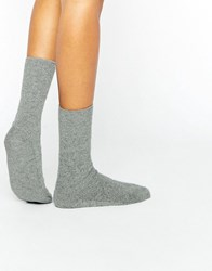 Johnstons Grey Cashmere Ankle Socks Grey