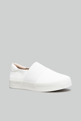 Opening Ceremony Stretch Canvas Slip On Platform Sneakers White