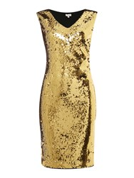 Untold All Over Beaded Dress Gold