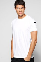Boohoo Neck T Shirt With Zip Sleeve White
