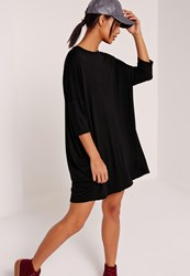 Missguided Oversized Raglan T Shirt Dress Black Black