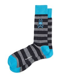 Melange Striped Socks Blue Blue Psycho Bunny