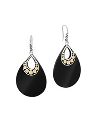 John Hardy 18K Yellow Gold And Sterling Silver Batu Carved Chain Earrings With Black Onyx Black Gold