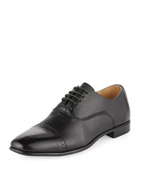 Neiman Marcus Silas Leather Cap Toe Oxford Black