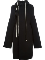 Rick Owens Lilies Oversized Hooded Coat Black