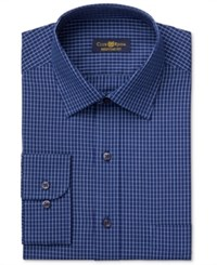 Club Room Men's Estate Classic Fit Wrinkle Resistant Navy Blue Windowpane Dress Shirt Only At Macy's