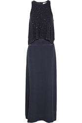 Brunello Cucinelli Layered Sequined Silk Satin And Crepe De Chine Gown Blue
