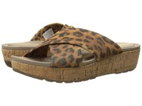 Rockport Land Boulevard Cross Slide Flatform Sandal Brown Leopard Stretch Women's Sandals Animal Print