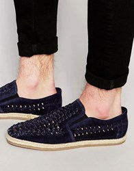 Dune Woven Slip On Shoes In Navy Suede Blue