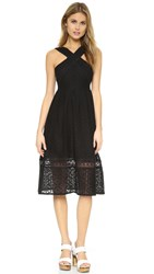 J.O.A. Cross Front Lace Dress Black