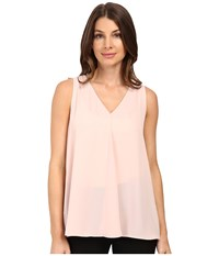 Vince Camuto Sleeveless V Neck Drape Front Blouse Rosy Flush Women's Blouse Multi