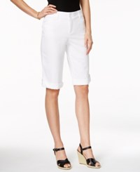 Charter Club Petite Roll Tab Cuffed Bermuda Shorts Only At Macy's Bright White