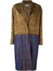 Alberto Biani Contrasting Panel Coat Brown