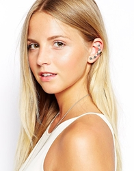 Asos Flower And Faux Pearl Ear Cuff Blackwhite