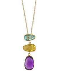 Effy Multi Gemstone 6 1 4 Ct. T.W. Pendant Necklace In 14K Gold Yellow Gold