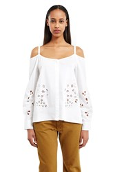 Suno Off Shoulder Button Down Shirt White