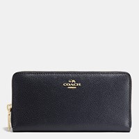 Coach Accordion Zip Wallet In Pebble Leather Light Gold Navy