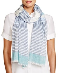 Fraas Striped Scarf Turquoise