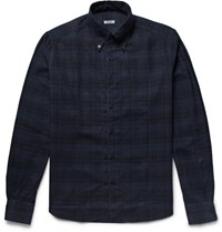 Eidos Eido Button Down Collar Checked Cotton Flannel Hirt Midnight Blue