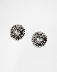 Designsix Etched Stud Earrings Silver