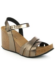 Daniel Beverlywood Strappy High Wedge Sandals Bronze