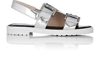 Opening Ceremony Women's Specchio Leather Monk Strap Sandals Silver