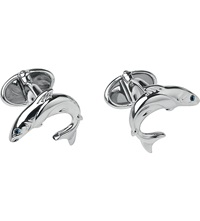 Links Of London Heritage Sterling Silver And Sapphire Salmon Cufflinks
