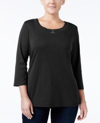 Karen Scott Plus Size Buckle Embellished Top Only At Macy's Deep Black