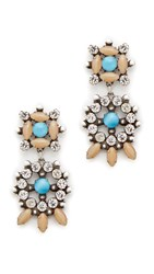 Dannijo Lagos Earrings Ox Silver Clear Nude Turquoise