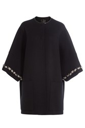 Agnona Cashmere Cape Coat With Mink Fur Black