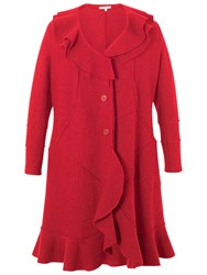 Chesca Flounce Trim Wool Coat Red