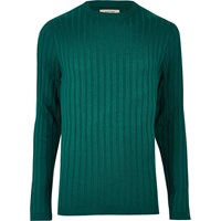 River Island Mens Dark Green Chunky Ribbed Muscle Fit Top