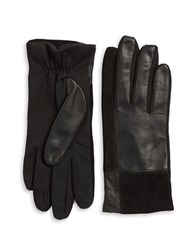 Lord And Taylor Mixed Media Tech Gloves Black
