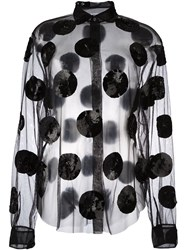 Msgm Sequined Sheer Blouse Black