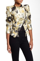 Tov Floral Faux Leather Motor Jacket Yellow