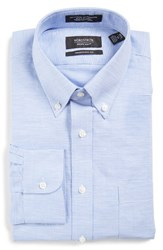 Nordstrom Men's Big And Tall Men's Shop Traditional Fit Houndstooth Linen And Cotton Dress Shirt Blue Grapemist