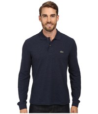 Lacoste L S Classic Chine Pique Polo Dark Indigo Blue Men's Clothing