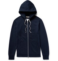 Reigning Champ Loopback Cotton Jersey Zip Up Hoodie Blue