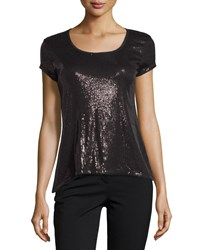 Max Studio Short Sleeve Sequin Tee Black