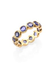 Temple St. Clair Classic Color Sapphire And 18K Yellow Gold Eternity Band Ring Purple Blue