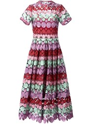 Alexis Long Embroidered Dress Pink And Purple