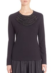 Escada Beaded Jersey Top Black