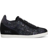 Ash Guepard Glitter And Suede Trainers Midnight Galaxy