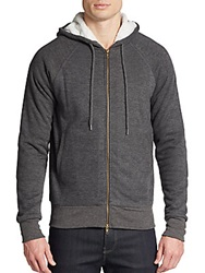 Saks Fifth Avenue Gray Sherpa Lined Hoodie Grey