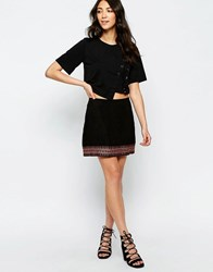 Muubaa Forster Embroidered Suede Skirt Black