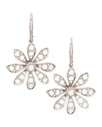 18K White Gold Round And Rose Cut Diamond Small Flower Drop Earrings Maria Canale For Forevermark White Gold