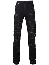 Christian Dada Ripped Skinny Jeans Black