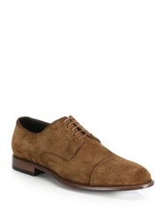 Hugo Boss Calf Leather And Suede Derby Shoes Brown