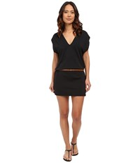 Michael Kors Garden Solids Draped V Neck W Belt Cover Up Black Women's Swimwear