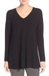 Eileen Fisher Petite Women's V Neck Organic Cotton Pullover Black